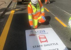 WJ puts finishing touches on temporary markings outside London's Nightingale Hospital